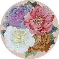 3D Floral Printing Round Carpets and Rugs Living Room Flower Floor Mat Sofa Coffee Table Balcony Bedroom Bedside Non-Slip Tapete