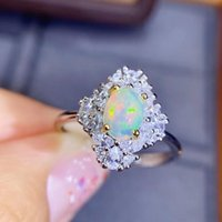 Anillo de moda de piedras preciosas de ópalo natural para mujeres Real 925 con encanto de plata esterlina Joyería fina anillos de cluster