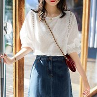 Women's Blouse Solid Color Summer Water-soluble Embroidery Lantern-sleeves Cotton Crew-neck Shirt Female Top Blouses & Shirts