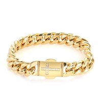 Bangles Bracelet Miami Micro Inlaid Zircon Cross Spring Snap Stainless Steel Cuban Chain Hip Hop Personalized