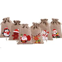 Kerstmis jute linnen trekkoord tas geschenk wraps santa claus sneeuwpop pinguïn eland snoep sieraden verpakking huidige opbergtassen xmas ahf9345