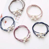5Pcs lot Korean Hair Ring Accessories Girls Hair Elastic Ties Multi Layer with Pearls Rope Hairband