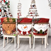 Christmas cartoon doll print chair cover Santa Claus dining table linen holiday party decoration chair-cover