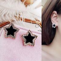 Earring femininity simple circle earrings S925 personalized bla Earrings Rose Gold