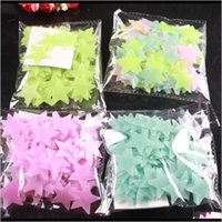Décor & Garden100 Pcs Bag 3D Stars Glow In The Dark Luminous On Stickers For Kids Living Room Wall Decal Home Decoration Poster Drop Delivery