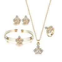 Earrings & Necklace 5Pcs Set Alloy Jewelry Set Crown Pendant +Stud Earrings+Ring+Bracelet Fine For Female Engagement Decor