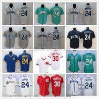 2021 남성 여성 청소년 빈티지 24 켄 그리피 JR 저지 야구 명예의 명예의 녹색 홀 스티치 시애틀 30 유니폼