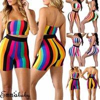 Femmes Sexy Tenue 2 pièces Stripe Stripe Stripe Tube sans manches Top et Shorts Upins