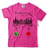 Men's T-Shirts The Mountains Are Calling Funny Hiking T-Shirt Camping Quality Cotton Mens Print Dress