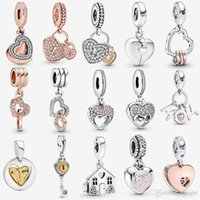 925 Sterling Silver Pavé Heart Padlocks Dangle Charm Two Hearts Charms Mom's House Fit Pandora Original Bracelets Bangle Necklace Jewelry Christmas Gift