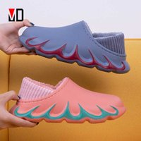 2020 New Waterproof Non-Slip Home Women Slippers Winter Autumn Warm Indoor Cotton Men Couples Shoes Croc Charms Plush Brief