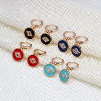 S2233 Fashion Jewelry Glaze Evil Eye Earrings Blue Eyes Hoop Dangle Earring