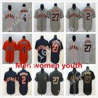 2021 Houston Hombres Mujeres Niños Jersey Jerseys 27 Jose Altuve Jersey 4 George Springer 2 Alex Bregman Astros Costada Navy Azul Naranja Gris Negro