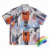 Мужские повседневные рубашки Высокое Качество Wacko Maria Рубашка Мужчины Женщины 1: 1 Граффити Гавайи Модный пляжный стиль Tees Tees