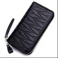 Portafoglio da donna Genuine Pelle Portamonete in pelle Pochette a lungo Pochette RFID Portafogli con carta femminile con portafogli con cassa del telefono