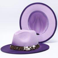 women Colorful Wide Brim Church Derby Top Hat Panama Felt Fedoras Hat for Men artificial wool British style Jazz Cap
