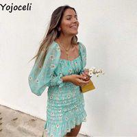 Yojoceli Sexy ruffle daisy print short bodycon dress Autumn party leopard shirred women Off shoulder casual daily 210609