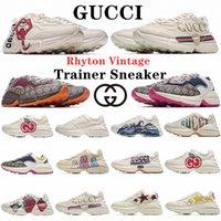 Lüks Rhyton Rahat Ayakkabılar Heighen Platformu Yastık Erkek Bayan Büyük Boy Sneakers Klasik Beyaz Deri Kalın Taban Vintage Trainer Dmkuk #