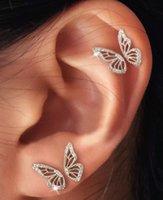 Ins bijoux grosses bijoux creux de la moitié des goujons de papillons boucles d'oreilles 2021 Vintage Gold Tone Metal Boucles d'oreilles de Charme Bijoux A6473