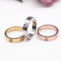 4mm 5mm 6mm titanium steel silver love ring men and women rose gold Rings lovers couple Ring for wedding gift fashion classic Jewelry With bag