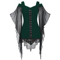 Fashion Womens Tops And Blouses Gothic Criss .cross Lace Insert Butterfly Sleeve Plus Size Blusa Feminina Clothing #t1g Women's & Shirts