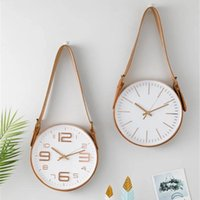 Round Dial Silent Wall Clock With Hanging Pu Leather Belt No...