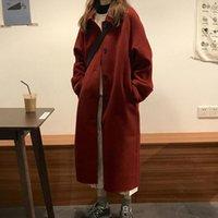 Women's Wool & Blends Korea Women Long Coat Loose Jacket Winter Windbreaker Hepburn Woole Overcoat Middle Thick Cardigan Outerwear
