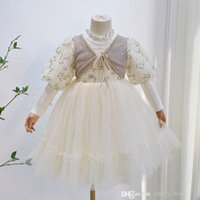 Girls 2021 autumn winter holiday dresses lovely kids lace sequin long sleeve birthday dress False 2pcs children party clothing S1683