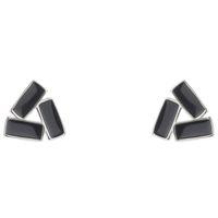 Real 925 стерлингового серебра Черный треугольник серьги серьги моды ювелирные изделия с коробкой для женщин мужские