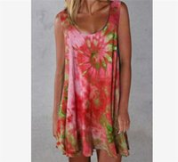 summer Tie-Dye Printed Womens Clothing Short Skirts Sleeveless Slip Dresses Casual Slim Dress Beach