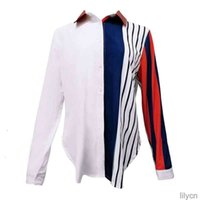 Women's Blouses Color Block Striped Shirt Elegant Office Lady Blouse Casual Long Sleeve Button Shirt Tops Chemise