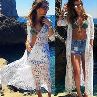 Fashion Lace Long Cardigan Blouse Bikini Swimwear Cover Up Tops Casual Swimsuit Smock Ladies Female Women Sleeve Blusas Women's Blouses & Sh