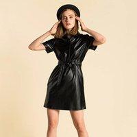 Платья партии Dabourfeel мода пояс повседневное искусственное кожаное платье женщин с коротким рукавом поворотные воротники мини-офис дамы уличная одежда 2021