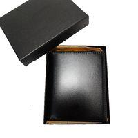 Классический дизайнер кошелек короткие кошельки для человека черный кожаный кошелек мужская монета карманная карточка держатель мешок коробка подарки