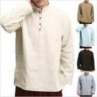 중국어 스타일 당나라 정장 Hanfu Tops 남자 가을 티셔츠 이슬람 이슬람 면화 느슨한 블라우스 Wushu 유니폼 일본 의상 민족 Clot Clots