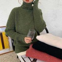 Ailegogo зимние женщины водолазка свитер свитер повседневная женщина трикотажные с длинным рукавом свободные пуловеры сплошные цветные дамы корейский стиль Tops1
