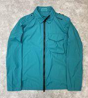 Retro tarzı taş pusula işareti ceketler metalik naylon renkli yansıtıcı kumaş erkek ince çok cep uzun kollu ceket
