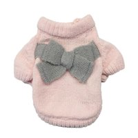 Dog Apparel Pet Bouledogue Francais Puppy Solid Color Bow-Knot Sweater Cute Autumn And Winter Moletom Masculino Com Capuz