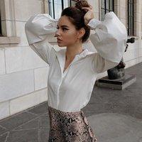 Blusas femininas camisas sólidas elegantes camisa branca preto sexy botão mulheres blusa vintage vire para baixo escritório escritório estética feminina feminina ca