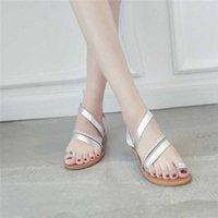 Plus size sandali perizoma sandali estate donne infradito in pelle Casual Beach flat con scarpe stile roma sandalo femminile tacchi a basso contenuto di bambù tacchi alti 00yh #