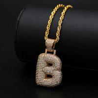 A-Z Buchstaben Anhänger Halsketten Strasssteine Benutzerdefinierte Blase Buchstaben Charme Anhänger Für Männer Frauen Gold Silber Farbe Kubikzirconia Hip Hop Schmuck