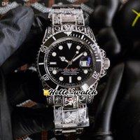 40 мм моря однократные красные мужские часы черный циферблат азиатские 2813 автоматические часы керамика bezel 126600 Флоренция художественная резьба стальной браслет hello_watch