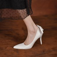 Bow-knot bridal bridesmaid white high-heel wedding shoes summer women's new 2021 The heel height (5cm-8cm) is elegant and beautiful