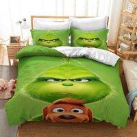 Cartoon grün Monster Grinsch Bettwäsche Set Bettbezug Kissenbezüge Bettwäsche Bettwäsche Bettwäsche Bettwäsche Twin Full Queen King Größe