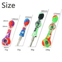 Smoking Silicone pipe titanium nail pipes With glass bowl 4 ways to use glass pipe set 9 colors with gift box wholesale