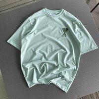 Primavera más nuevos camisetas llanuras de los hombres Sencillez amìrì Paris 2021SS Parejas de parejas Mujeres de manga corta verde TEE TAPE CALIDAD