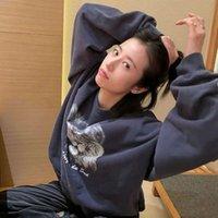 Чжоу Ютонга же осенью новая винтажная напечатанная круглая шейка пуловер пиджака женское пальто