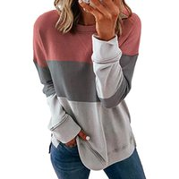 Spring Autumn Women Patchwork Long Sleeve O-Neck Casual Striped Pullover New Female Loose Stitching Contrast Color Fashion New