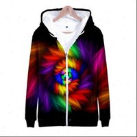 3D Early Womens autumn long sleeve seven color tie dyed zipper hoodie male female sweatshir Fashion thin jersey boys and