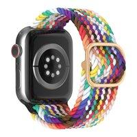 ل Apple Watch iWatch 3 4 5 SE 6 سلسلة النايلون حزام النسيج مطاطا الفرقة محطة قياس مطاط 38 ملليمتر 40 ملليمتر 42 ملليمتر 44 ملليمتر